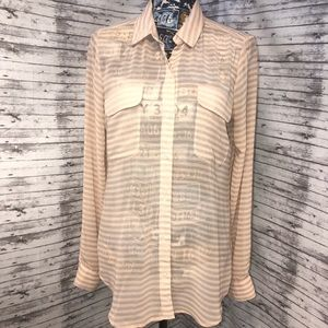 Size Medium Old Navy Sheer Button Down Blouse